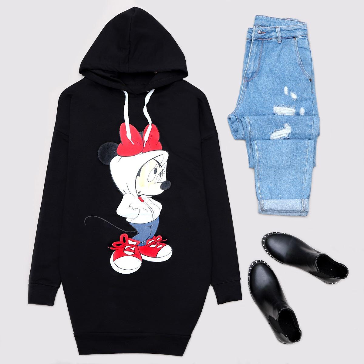 Siyah Minnie Mouse Sweat Tunik SWT464