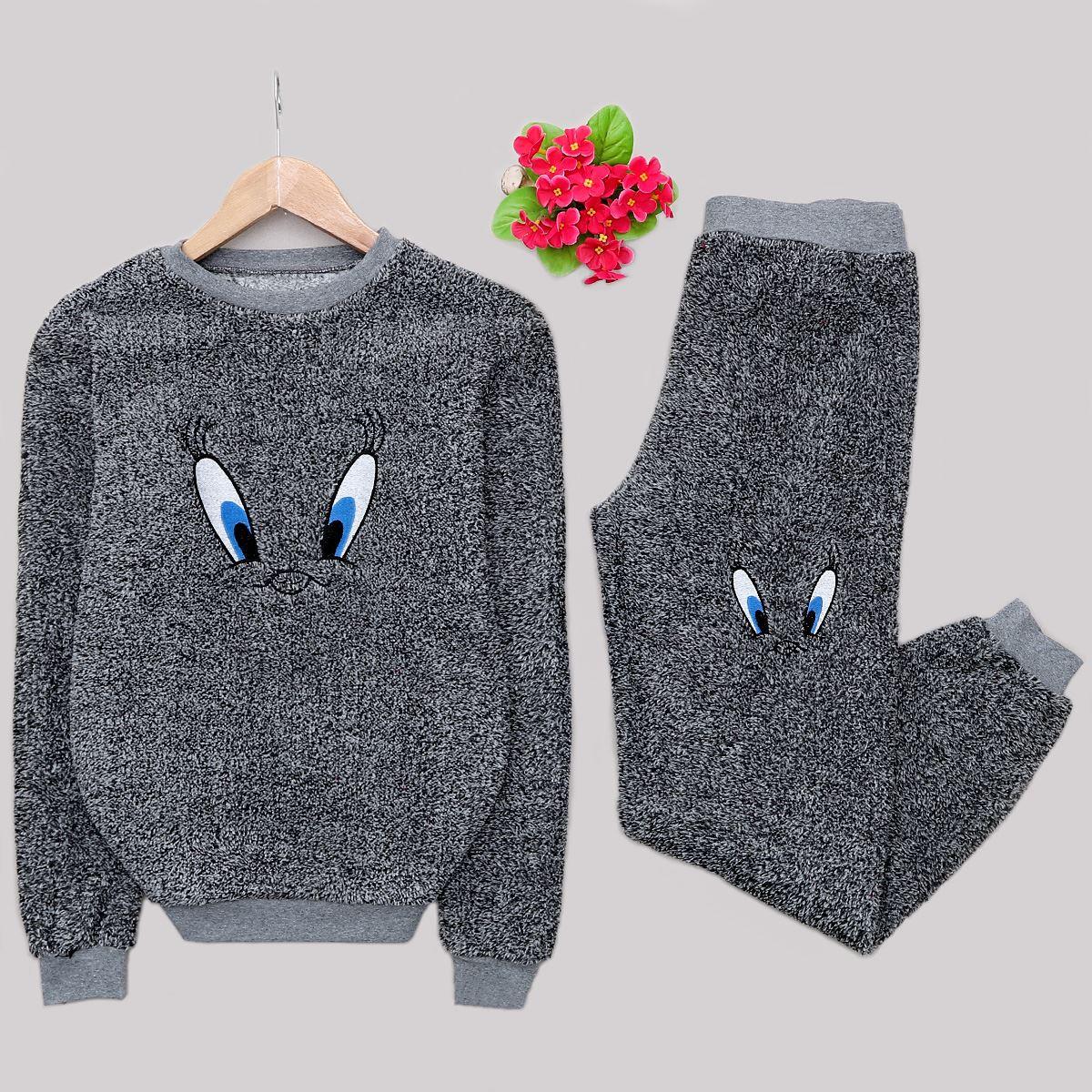 Gri Tweety Peluş Pijama Takımı PJM1136