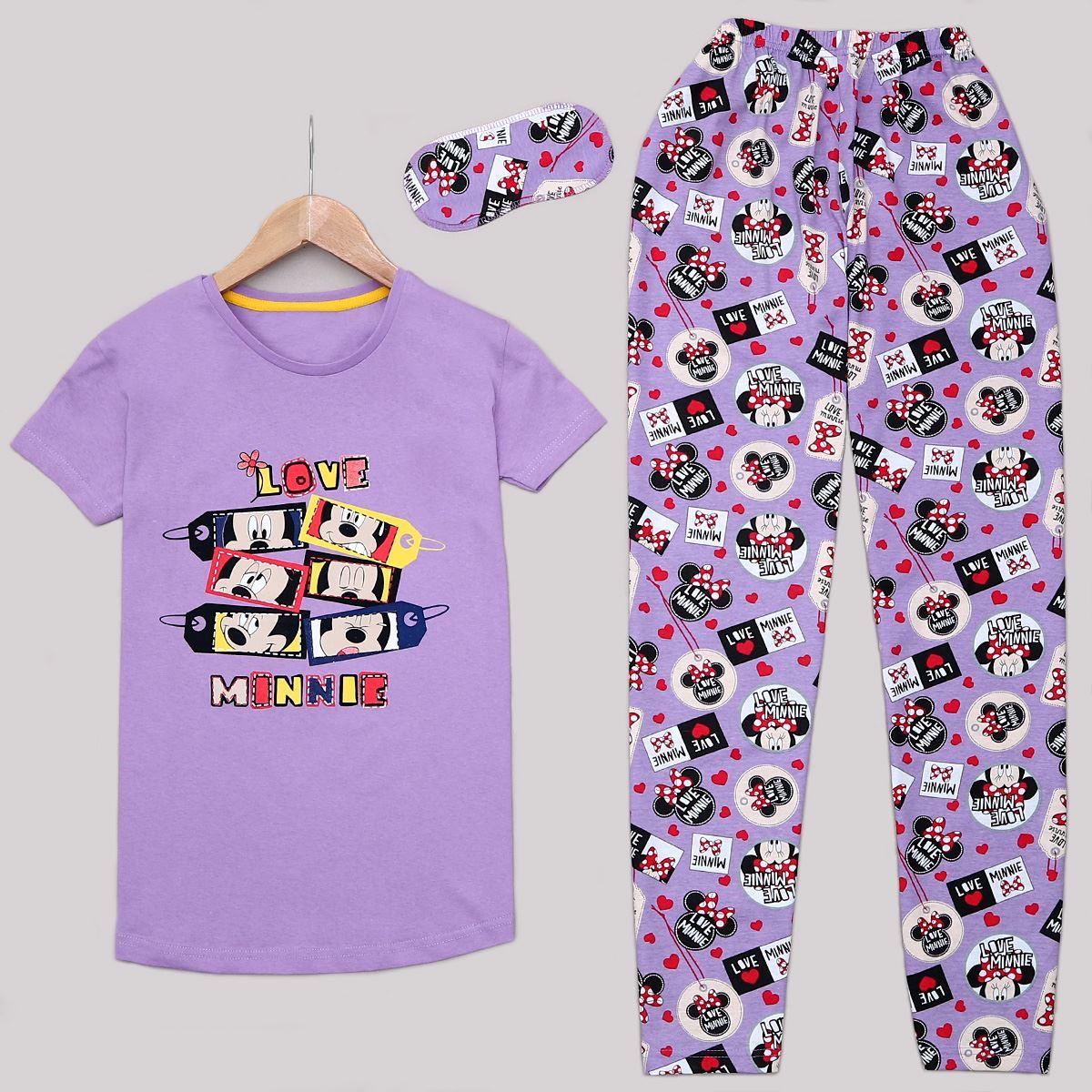 Lila Minnie Uyku Bantlı Pijama Takımı PJM1141