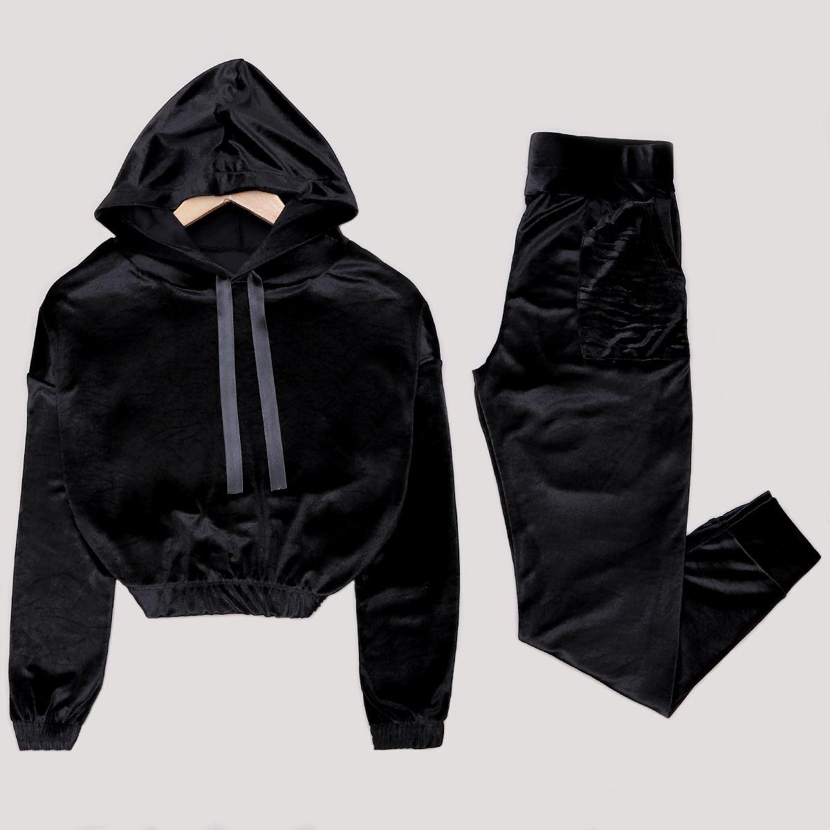 Siyah Kadife Eşofman Takımı TKM1199