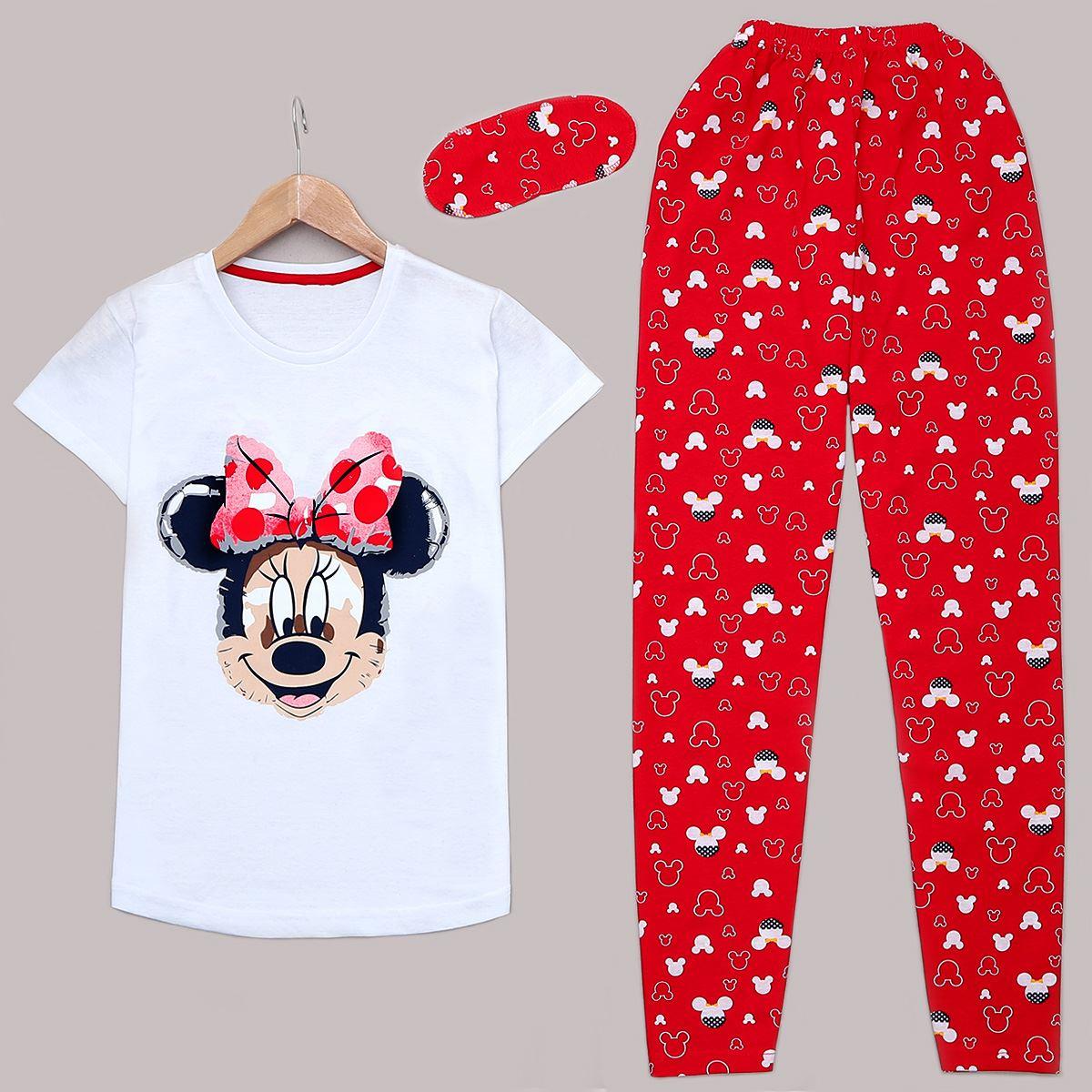 Beyaz Uyku Bantlı Pijama Takımı PJM1143