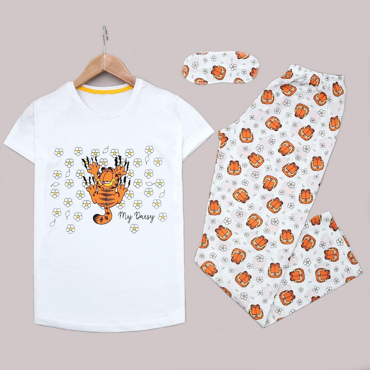 Beyaz Garfield Uyku Bantlı PiJama Takımı PJM1146