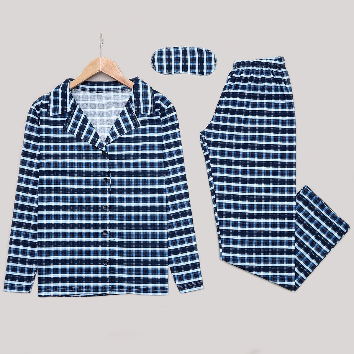 Mavi Ekoseli Pijama Takımı PJM1158