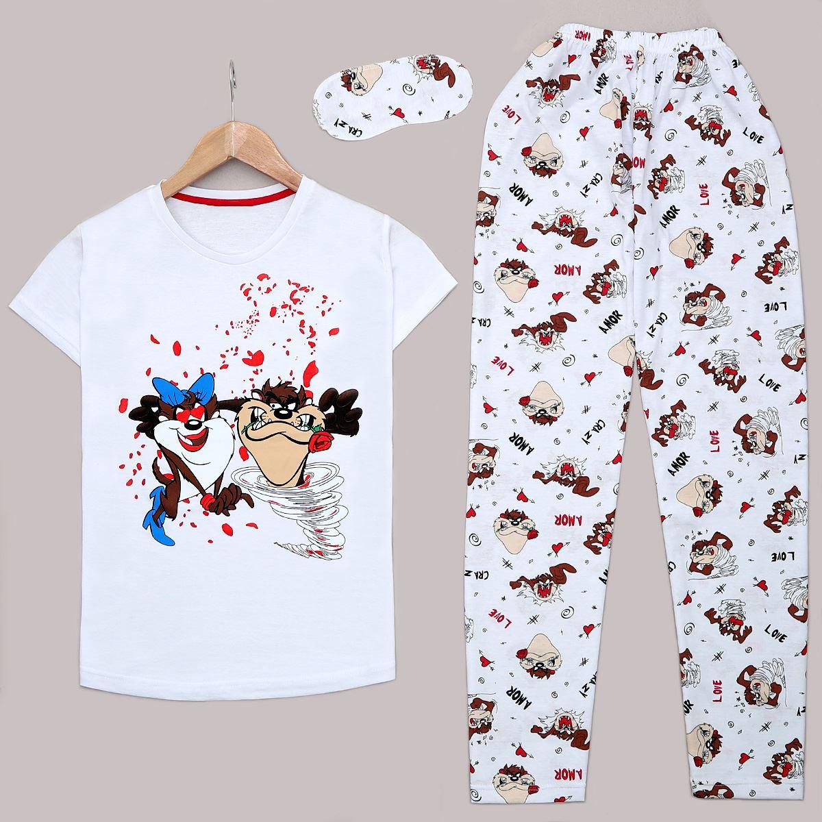 Beyaz Baskılı Pijama Takımı PJM1160
