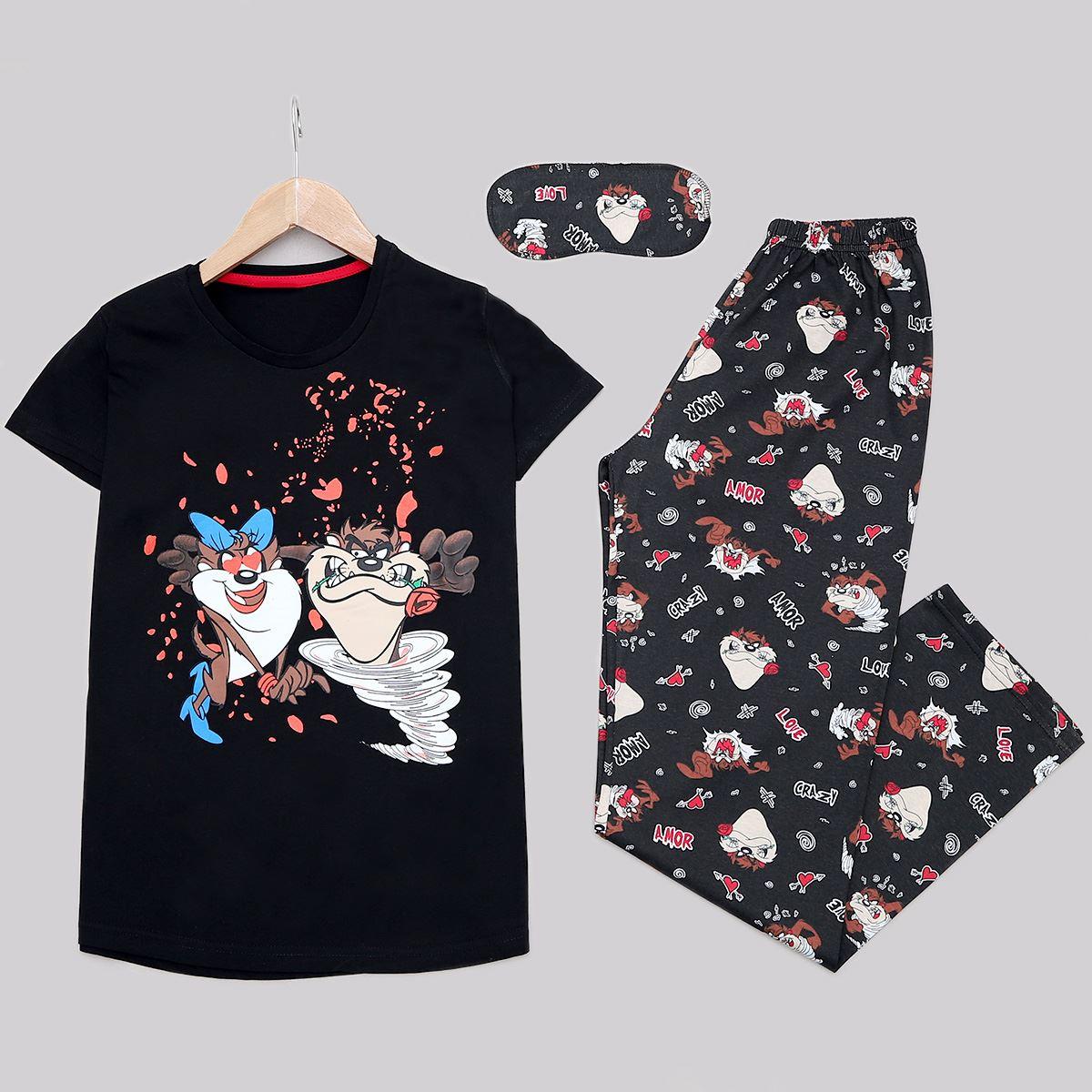 Siyah Baskılı Pijama Takımı PJM1161
