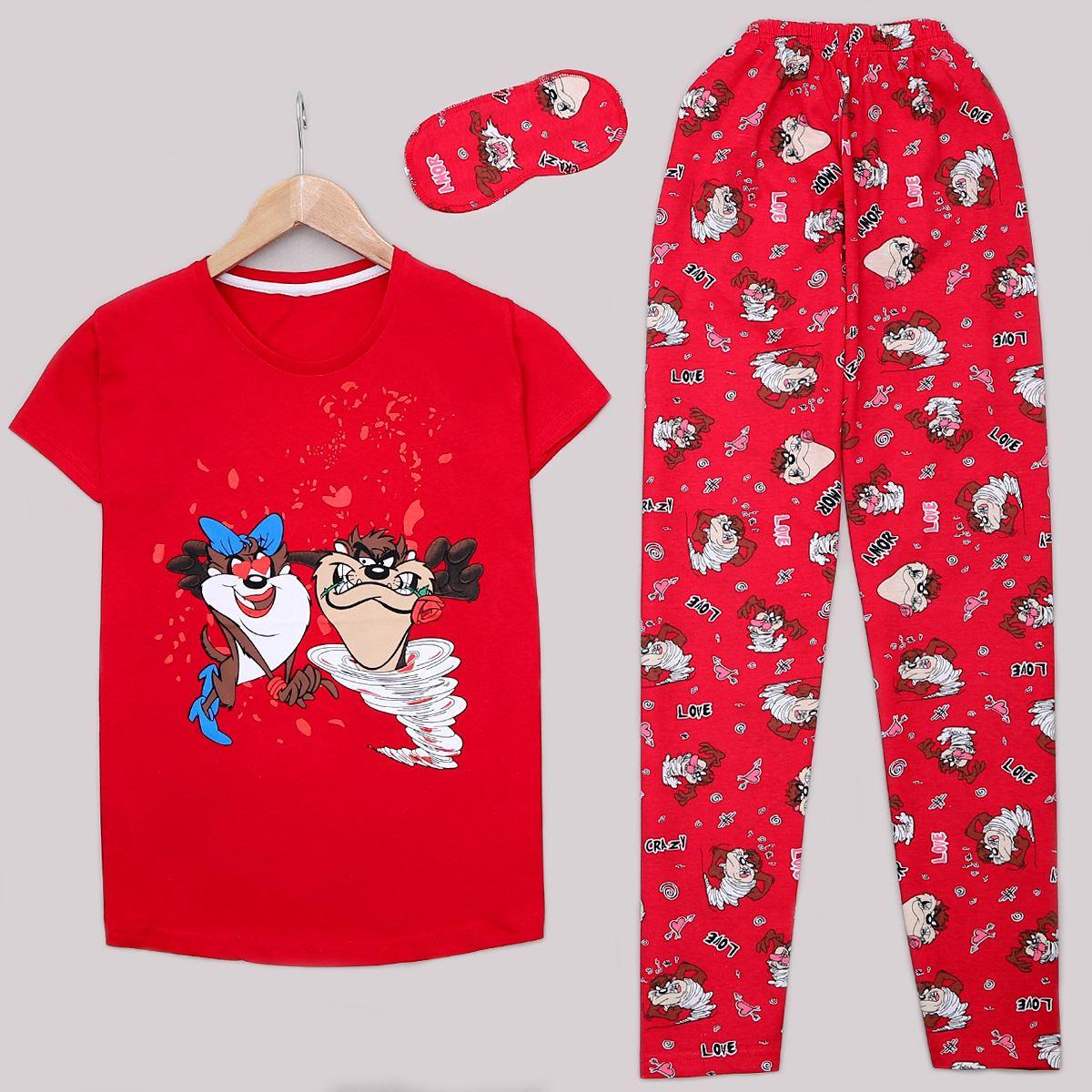 Kırmızı Baskılı Pijama Takımı PJM1162