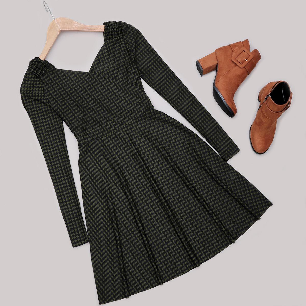 V Yaka Haki Kazayağı Elbise ELB421