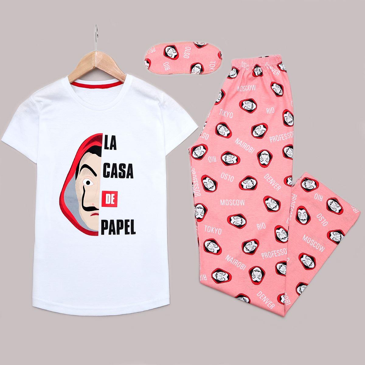 Beyaz Baskılı Pijama Takımı PJM1169