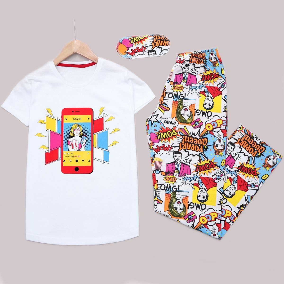 Beyaz Baskılı Pijama Takımı PJM1170