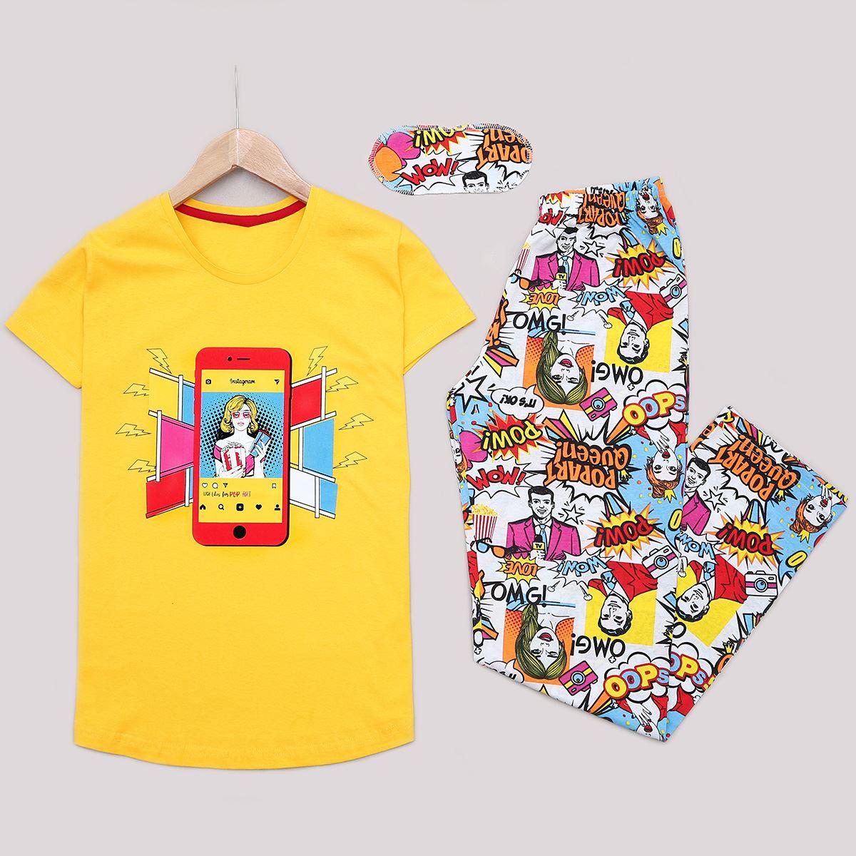 Sarı Baskılı Pijama Takımı PJM1171