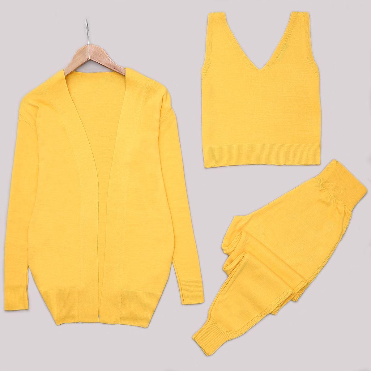Sarı Triko 3'lü Takım TKM769