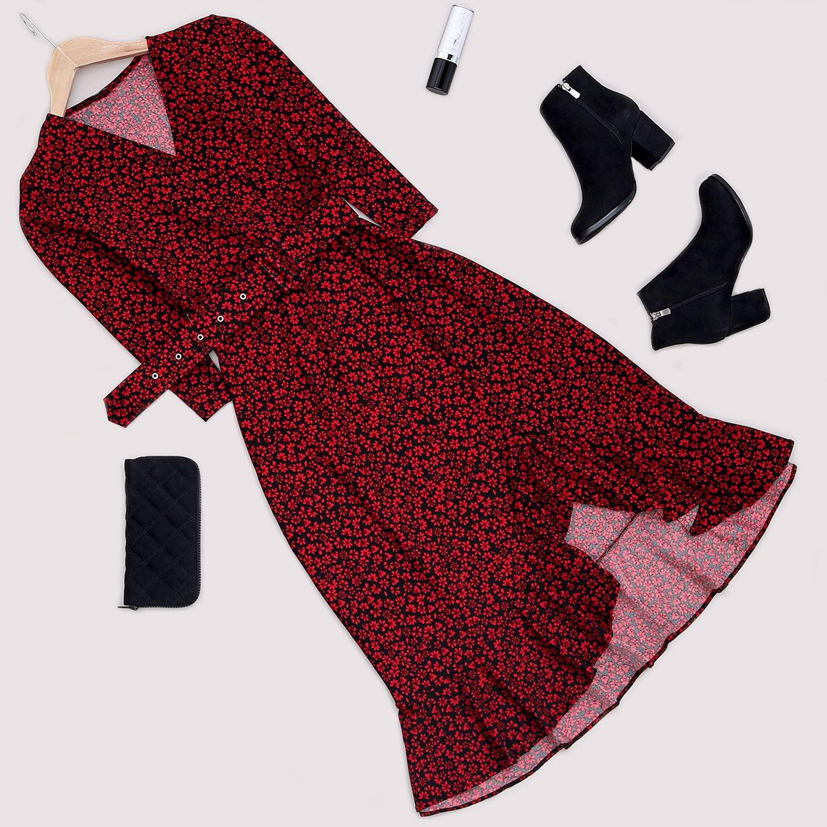 Kırmızı Çiçekli Elbise ELB424