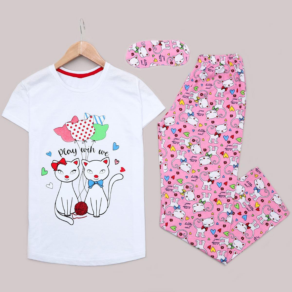 Beyaz Cat Uyku Bantlı Pijama Takımı PJM1177