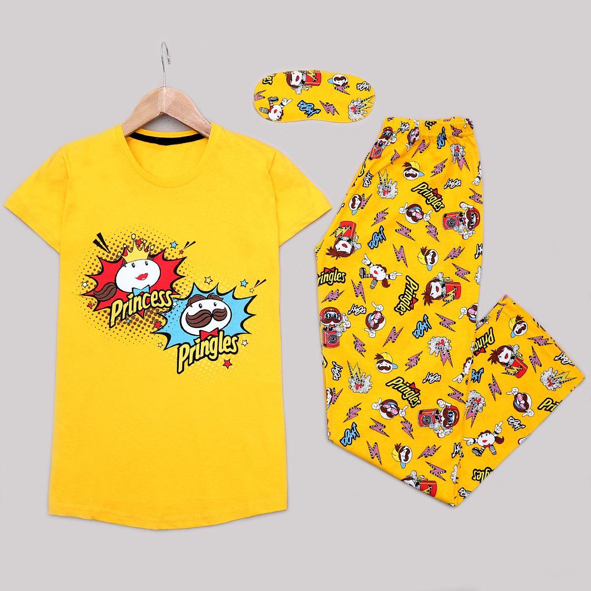 Sarı Uyku Bantlı Pijama Takımı PJM1183