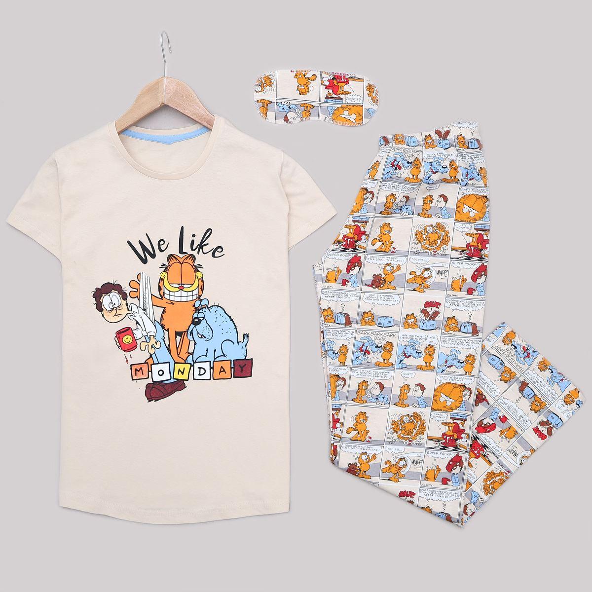 Bej Uyku Bantlı Pijama Takımı PJM1184