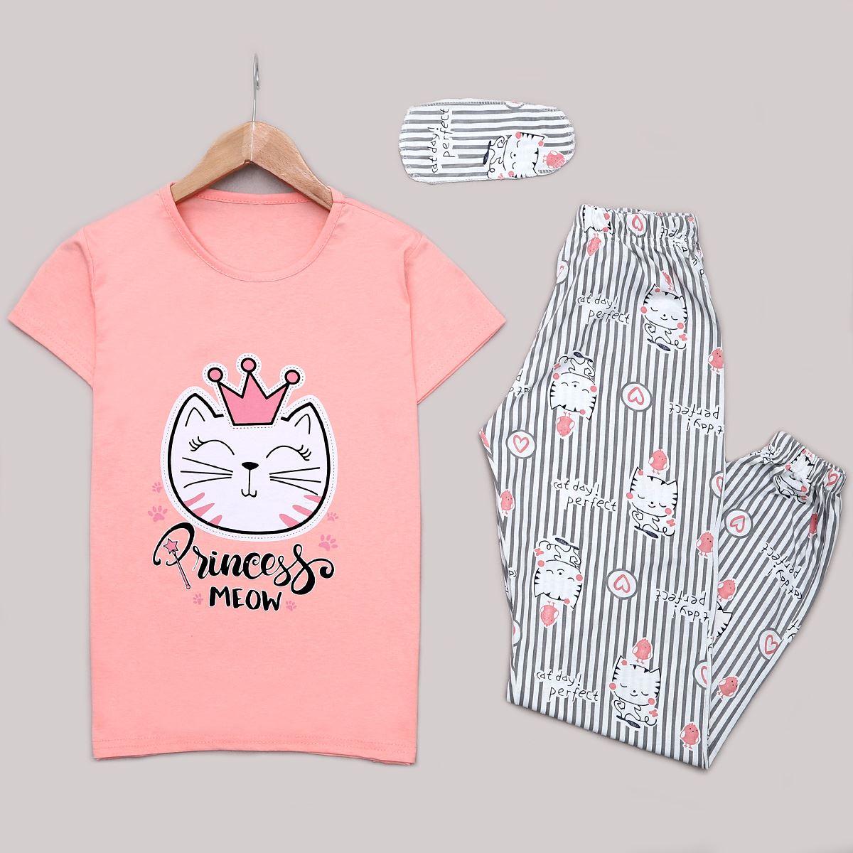 Pudra Cat Uyku Bantlı Pijama Takımı PJM1194