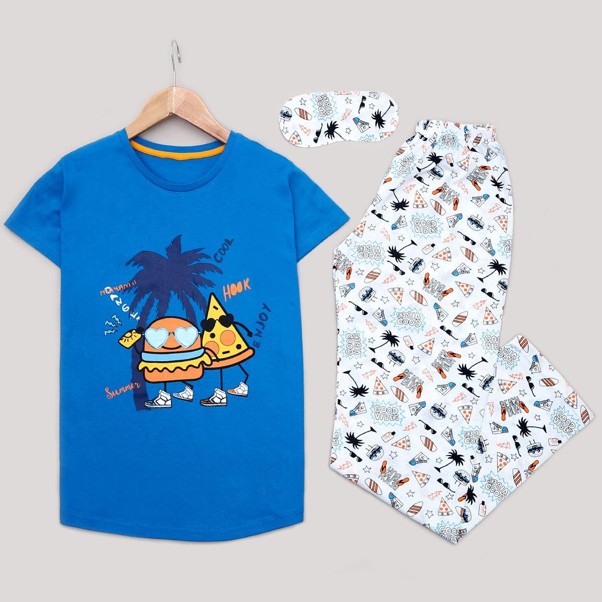 Saks Mavisi Uyku Bantlı Pijama Takımı PJM1196