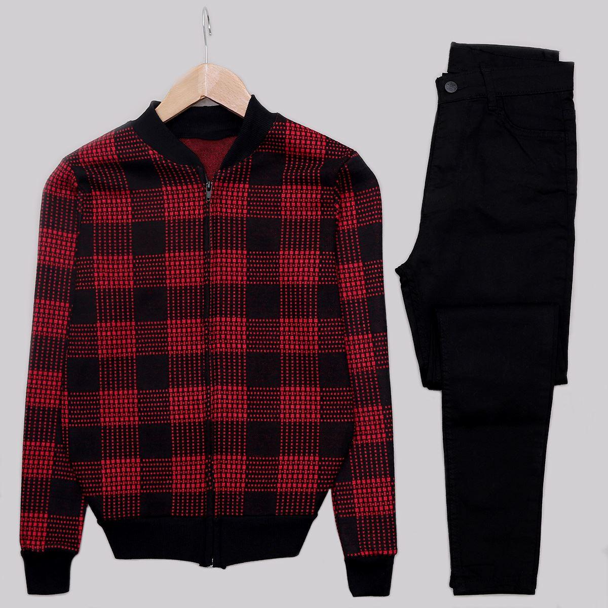 Kırmızı Ekose Fermuarlı Ceket CKT241