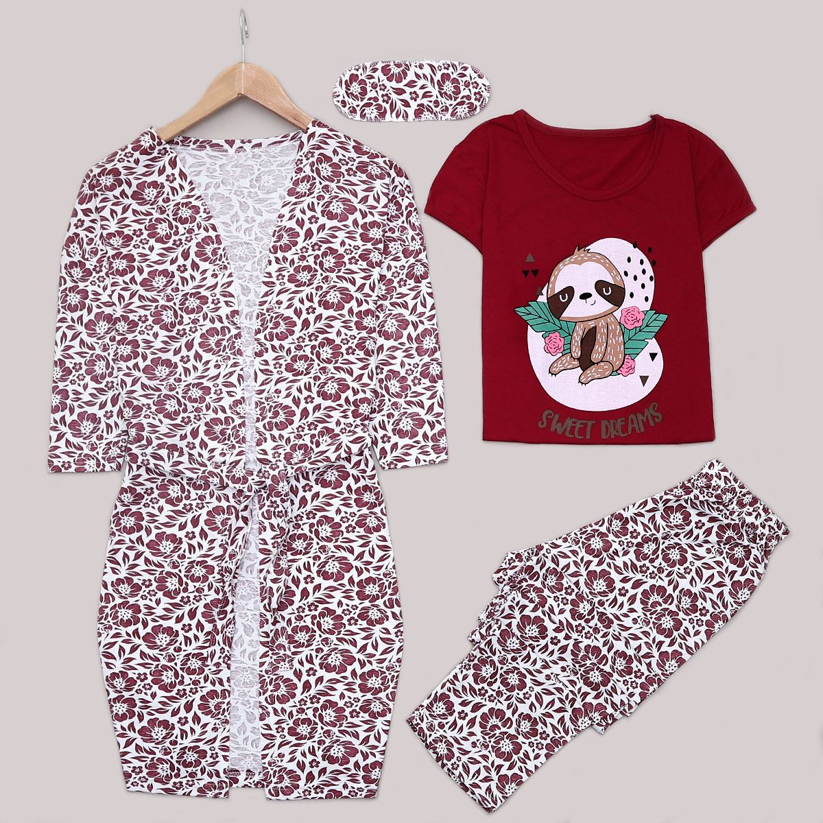 Bordo 4'lü Pijama Takımı PJM1211