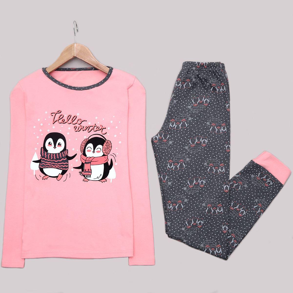 Pudra Penguin Pijama takımı PJM1219