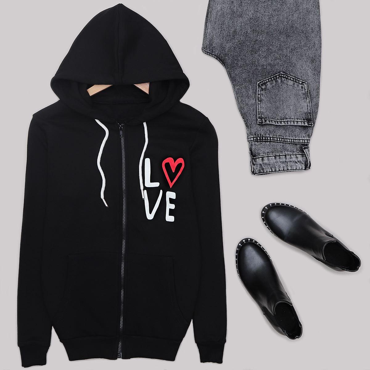 Siyah Love Fermuarlı Ceket CKT246