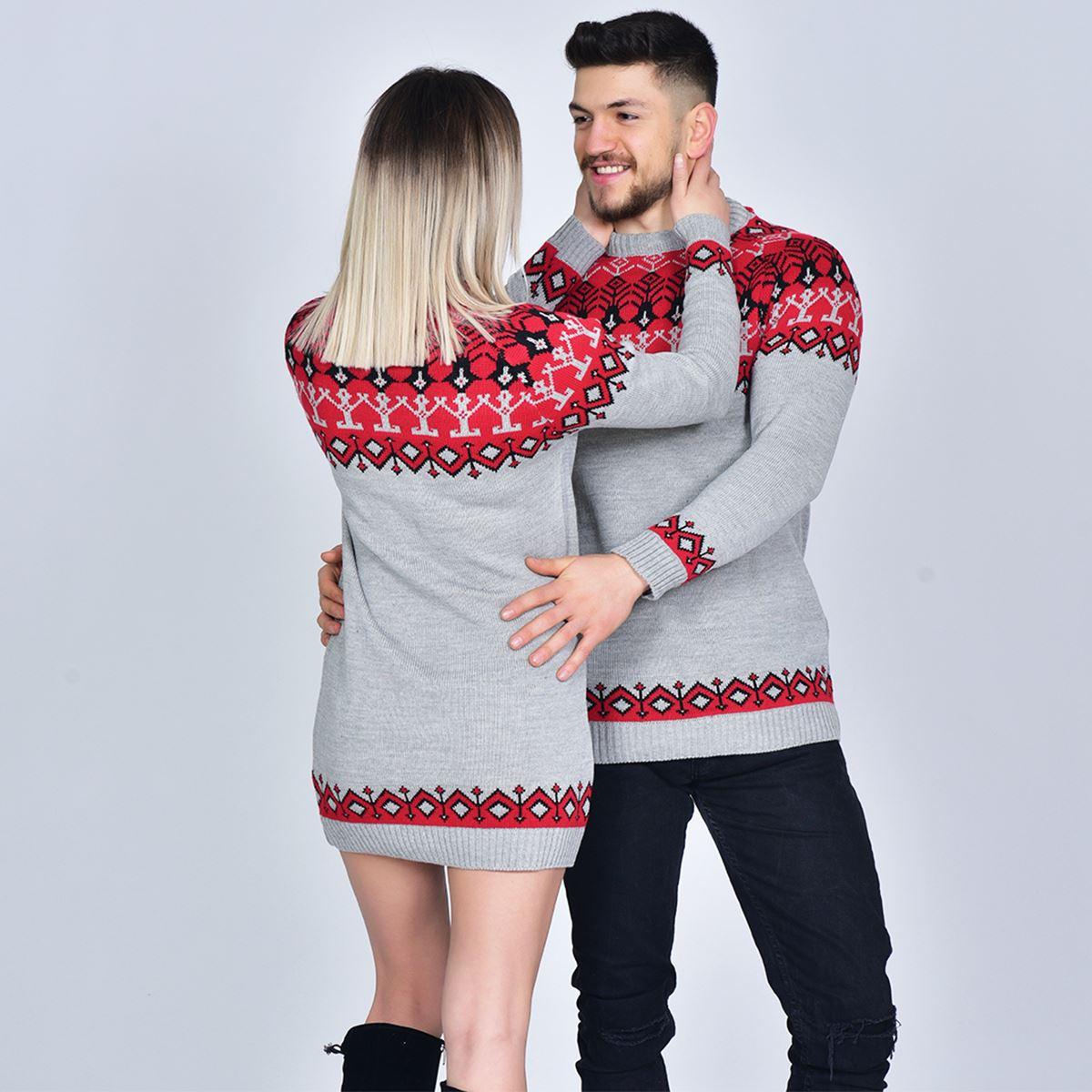 Sevgili Kombini Gri Etnik Triko Kazak SVG323