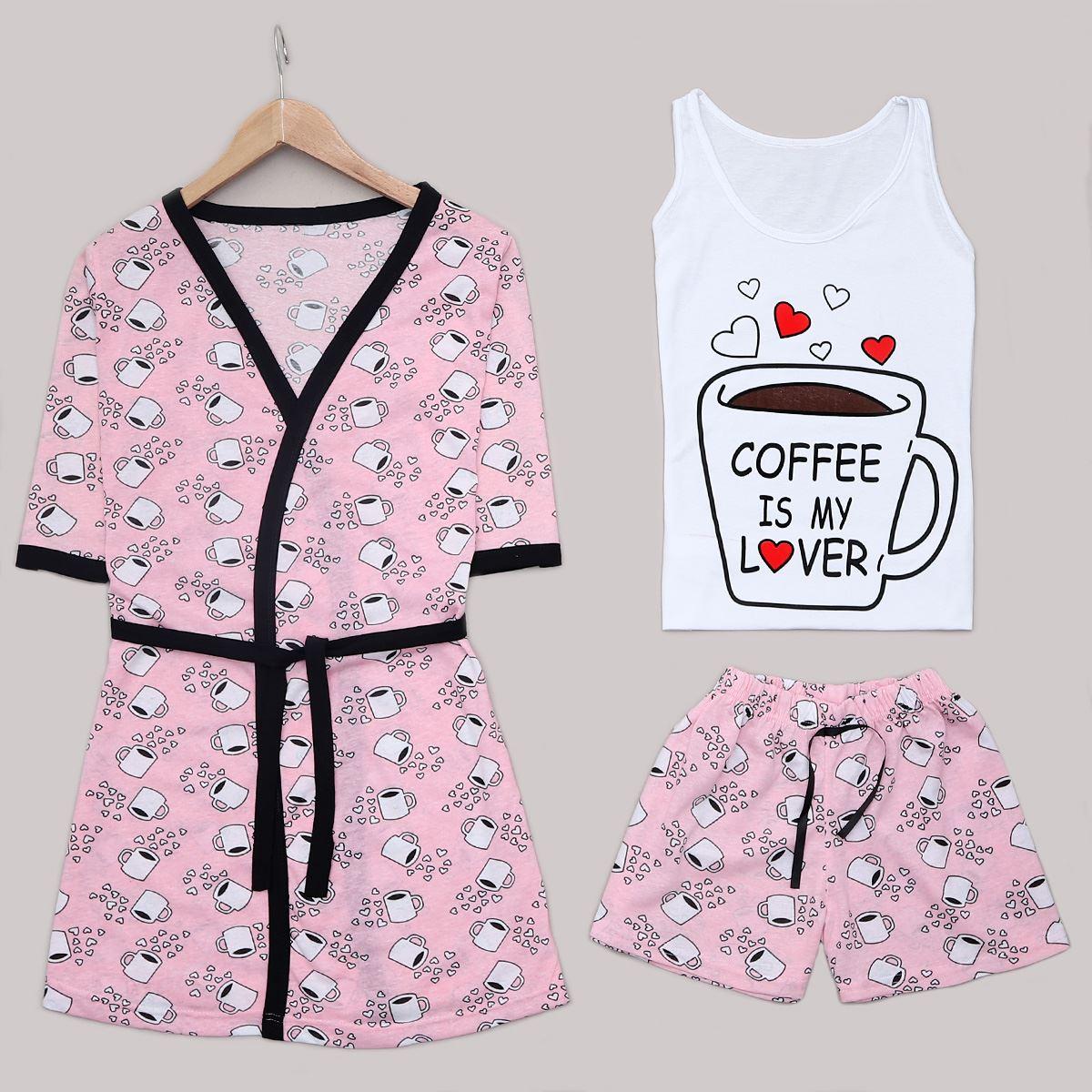 Pudra Coffee 3'Lü Pijama Takımı PJM1238