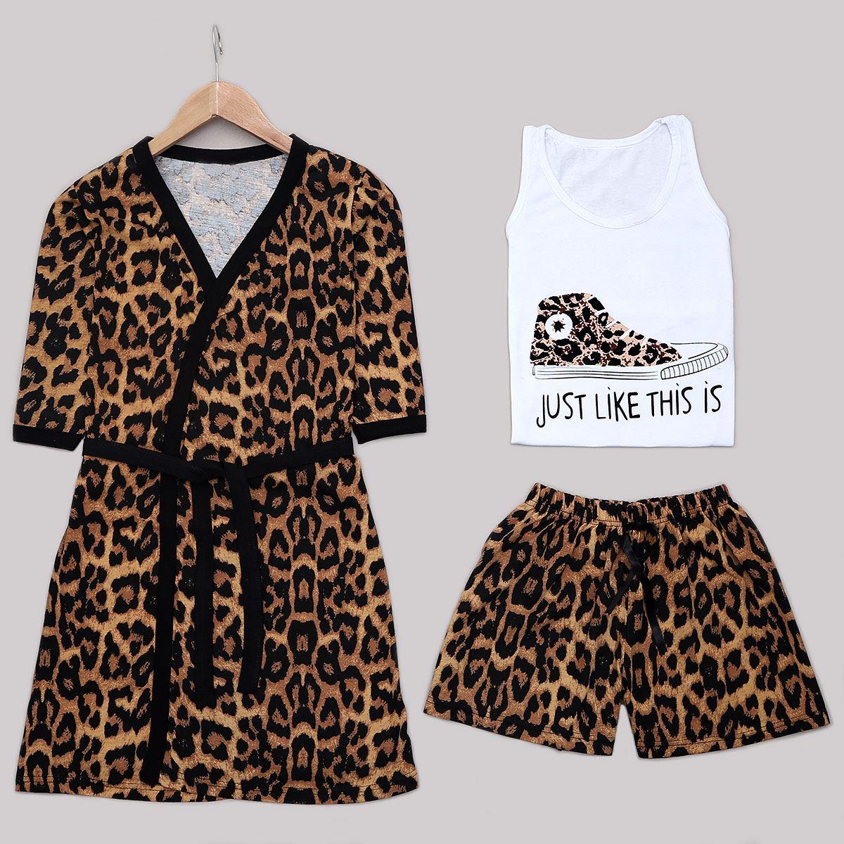 Leopar 3'Lü Pijama Takımı PJM1239