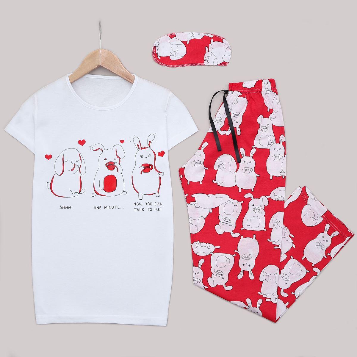 Beyaz Baskılı Pijama Takımı PJM1247