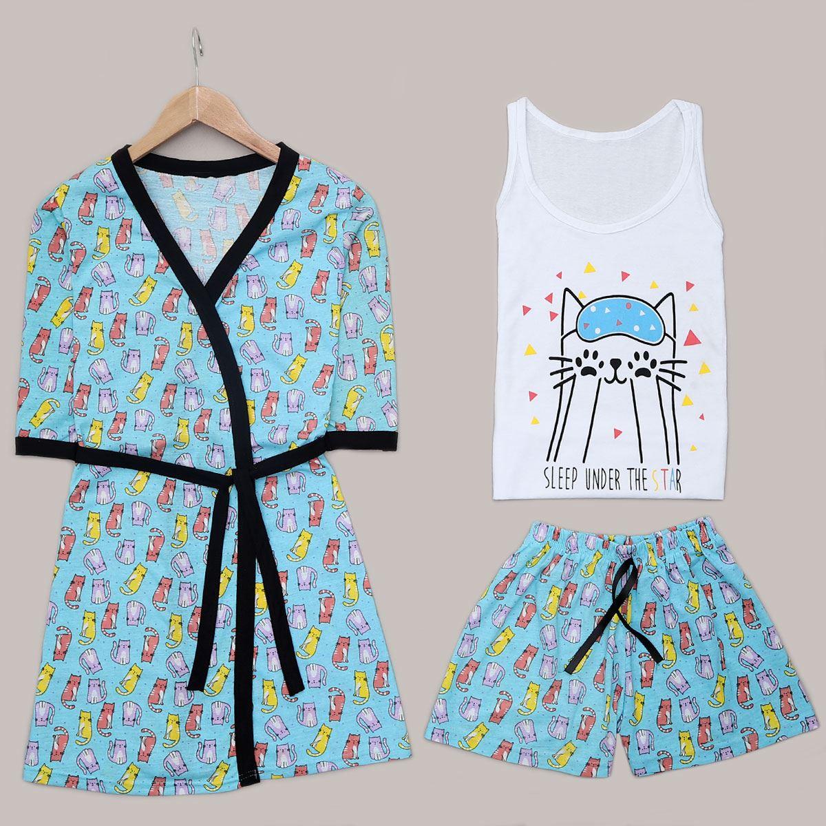 Mint Cat 3'Lü Pijama Takımı PJM1252