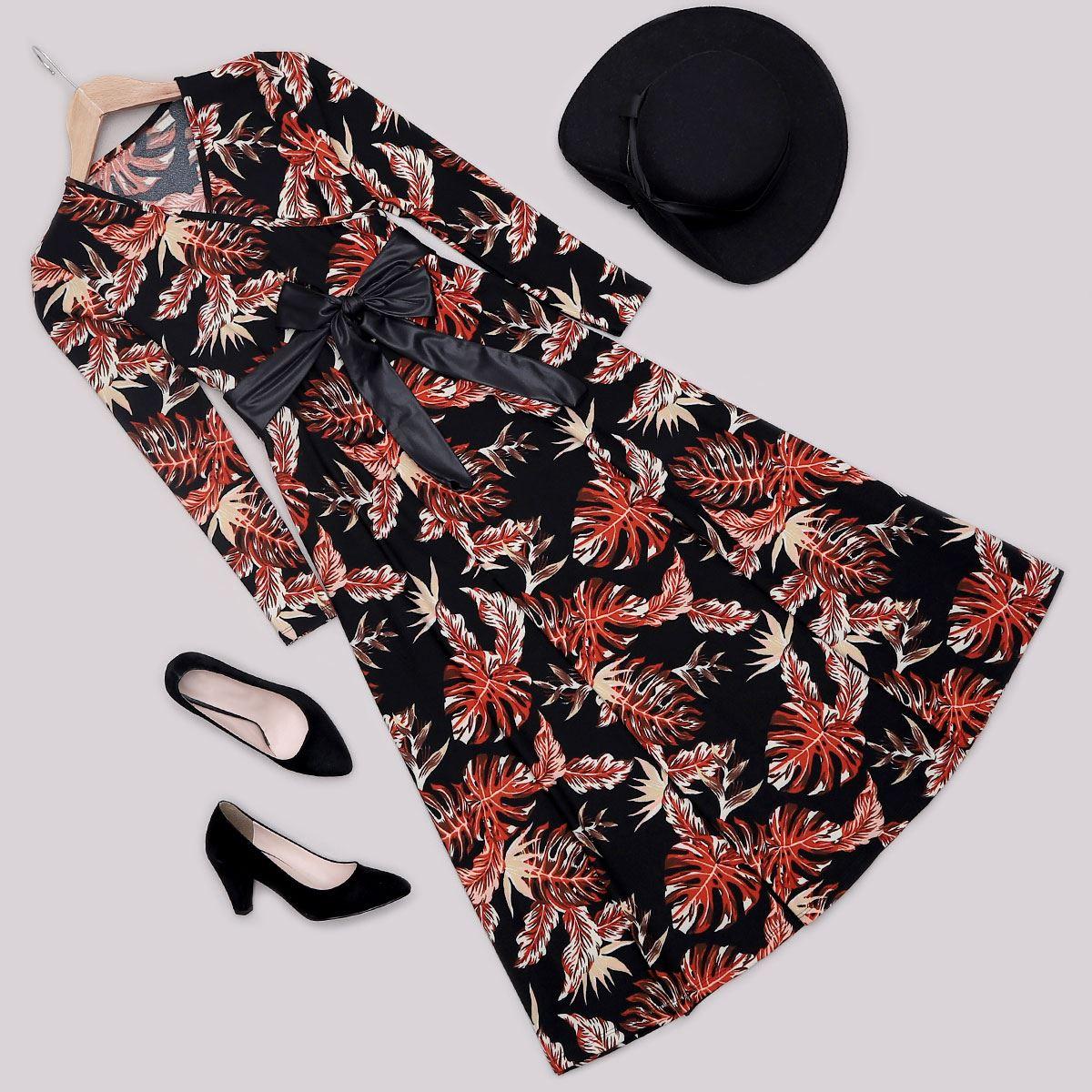 Siyah Yaprak Desenli Elbise ELB431