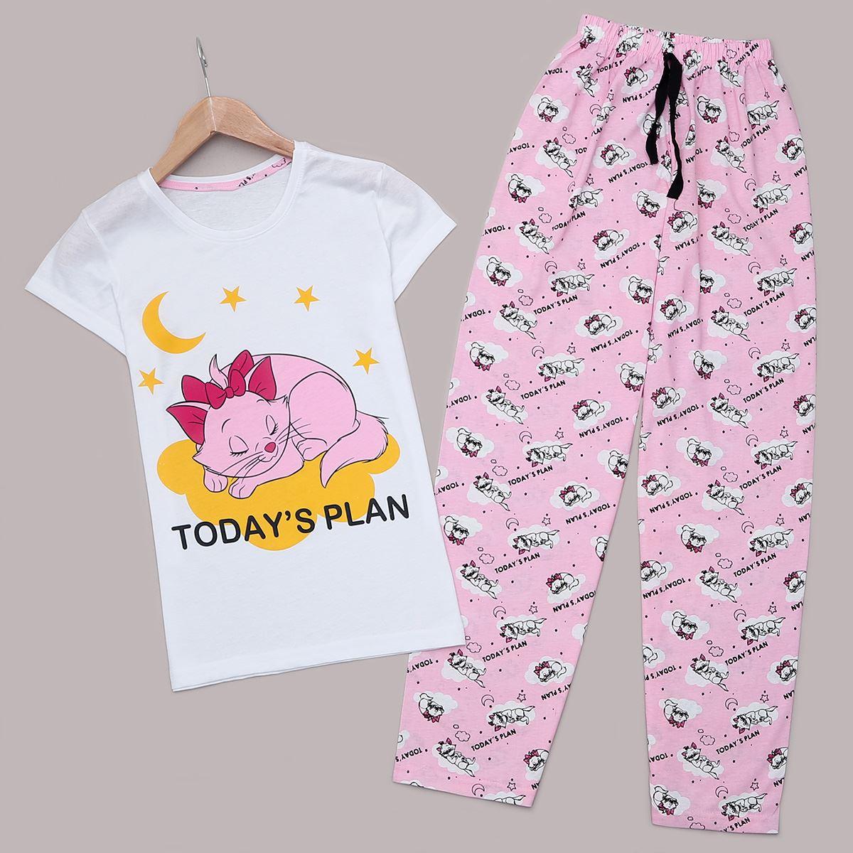 Beyaz Cat Pijama Takımı PJM1260