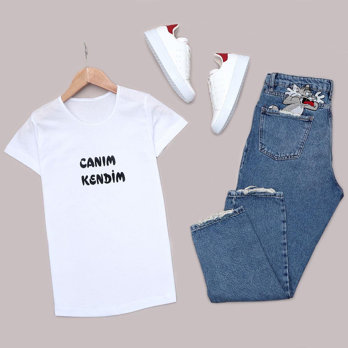 Beyaz Baskılı T-Shirt TSH175