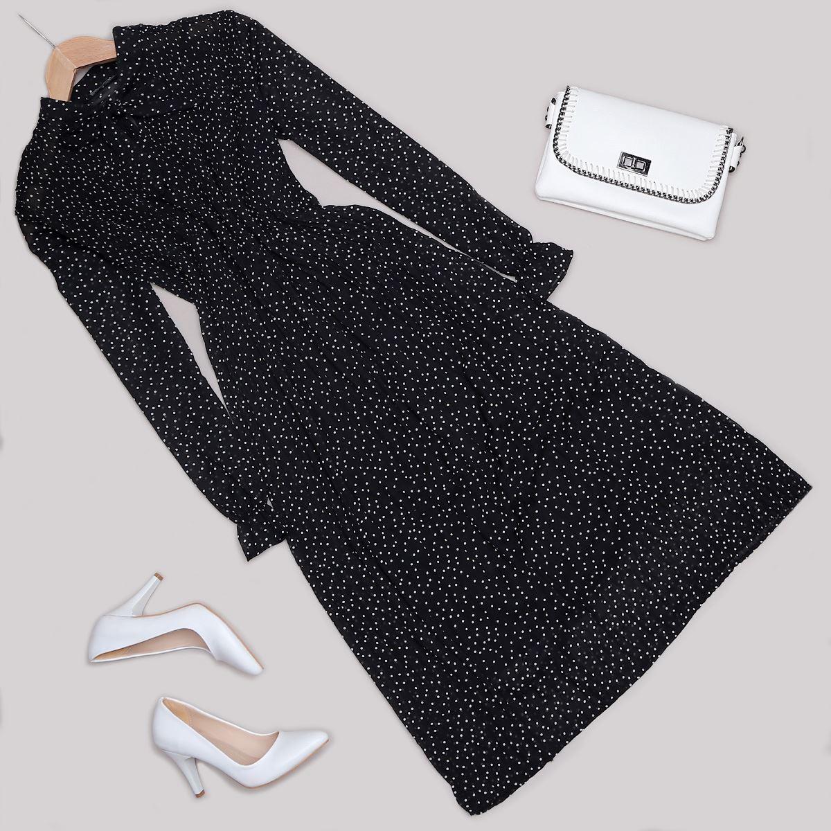 Siyah Puantiyeli Elbise ELB449