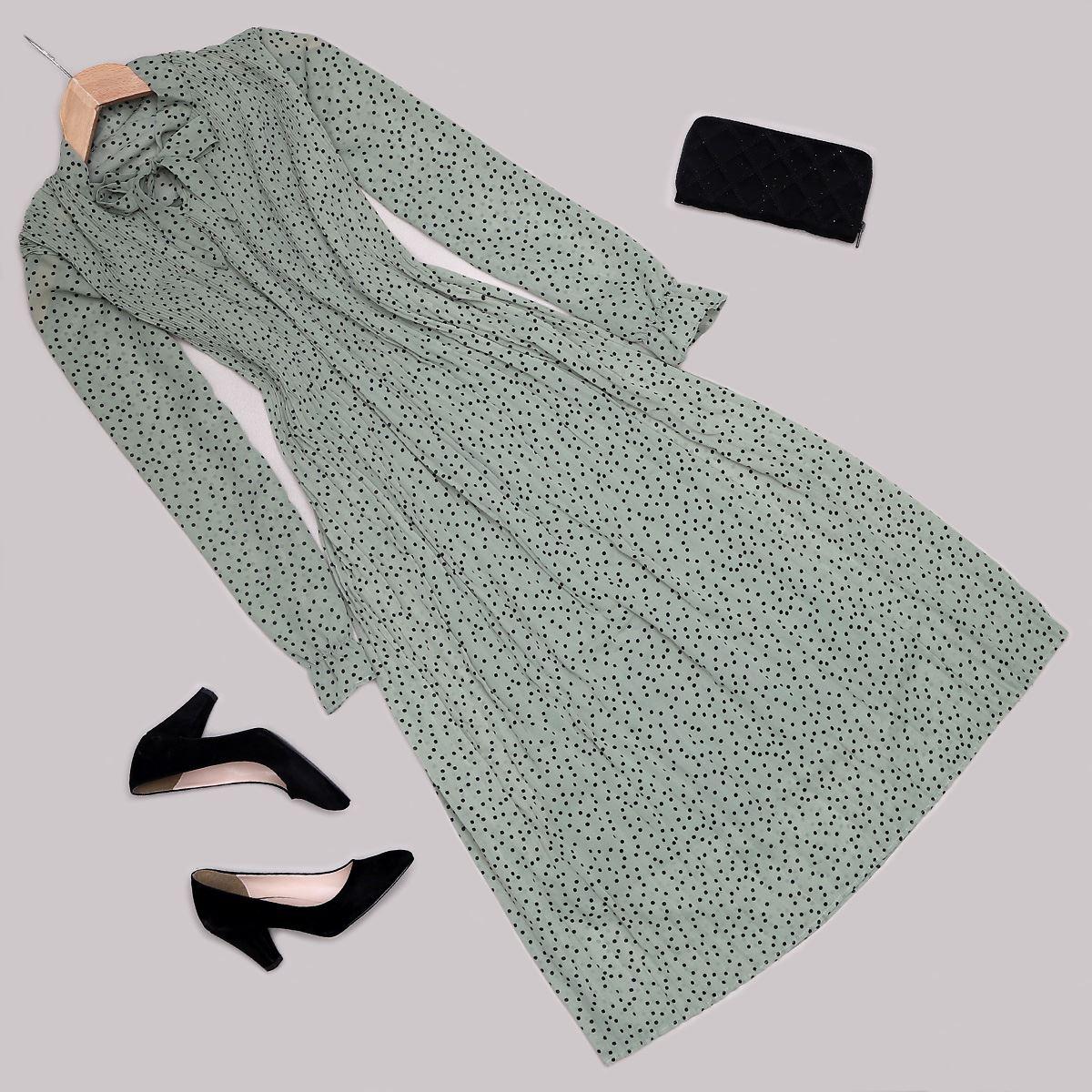 Mint Puantiyeli Elbise ELB450