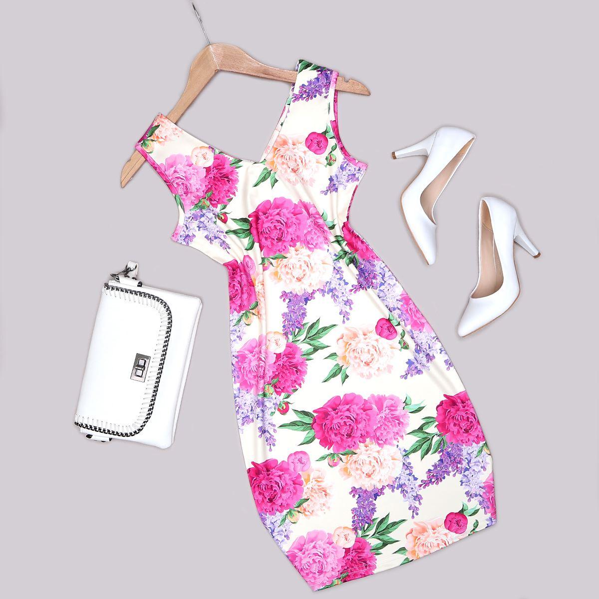 Çiçek Desenli Elbise ELB468