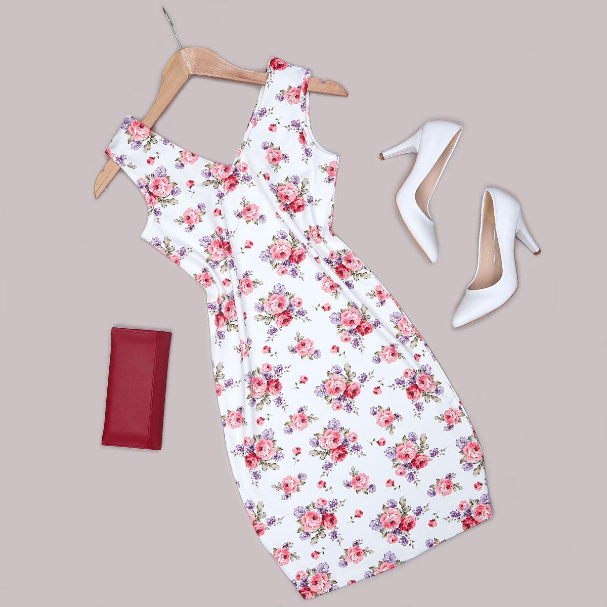 Çiçek Desenli Elbise ELB471
