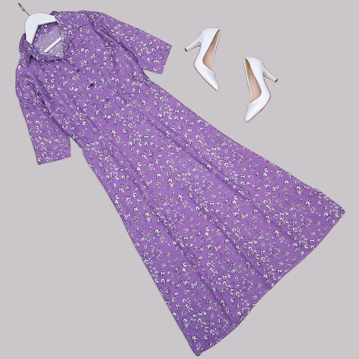 Mor Çiçekli Elbise ELB480