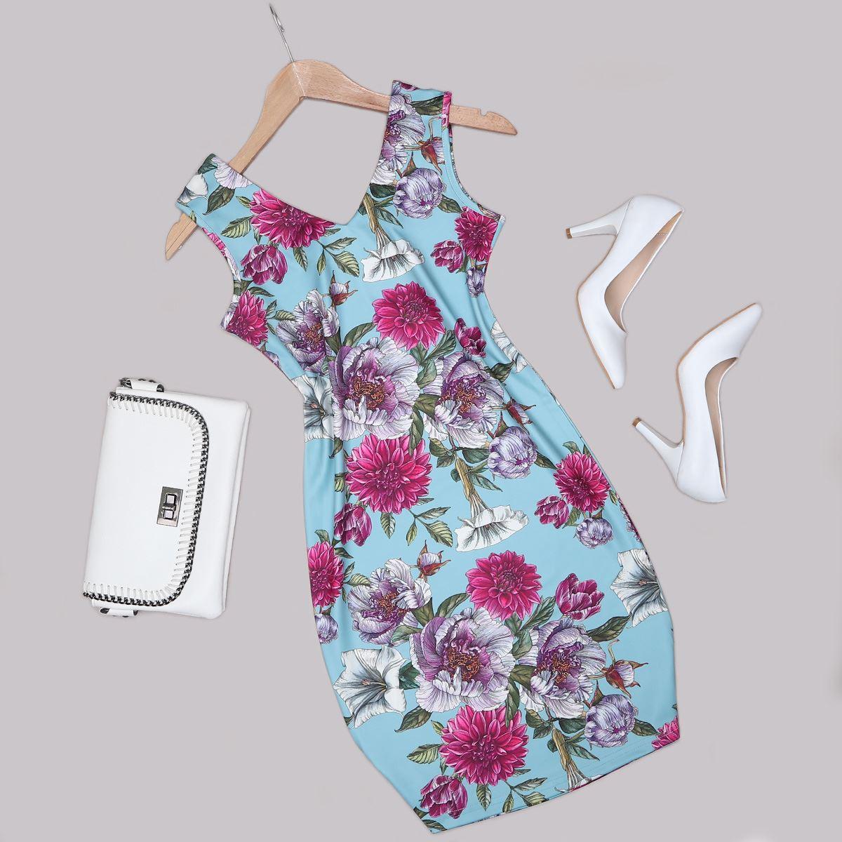 Çiçek Desenli Elbise ELB481