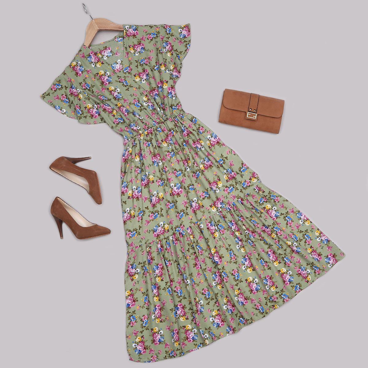 Yeşil Çiçek Desenli Elbise ELB489