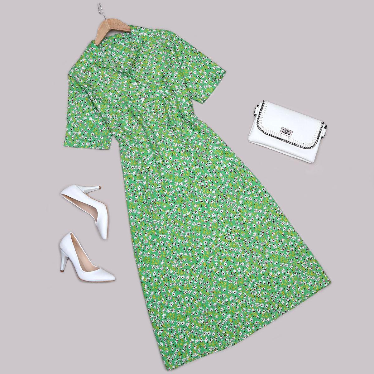 Yeşil Çiçekli Elbise ELB497