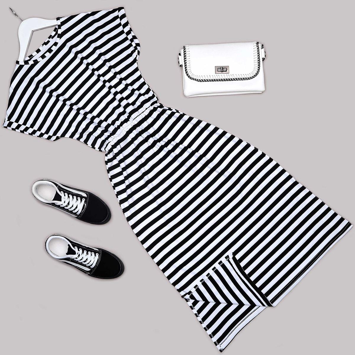 Siyah Çizgili Elbise ELB502