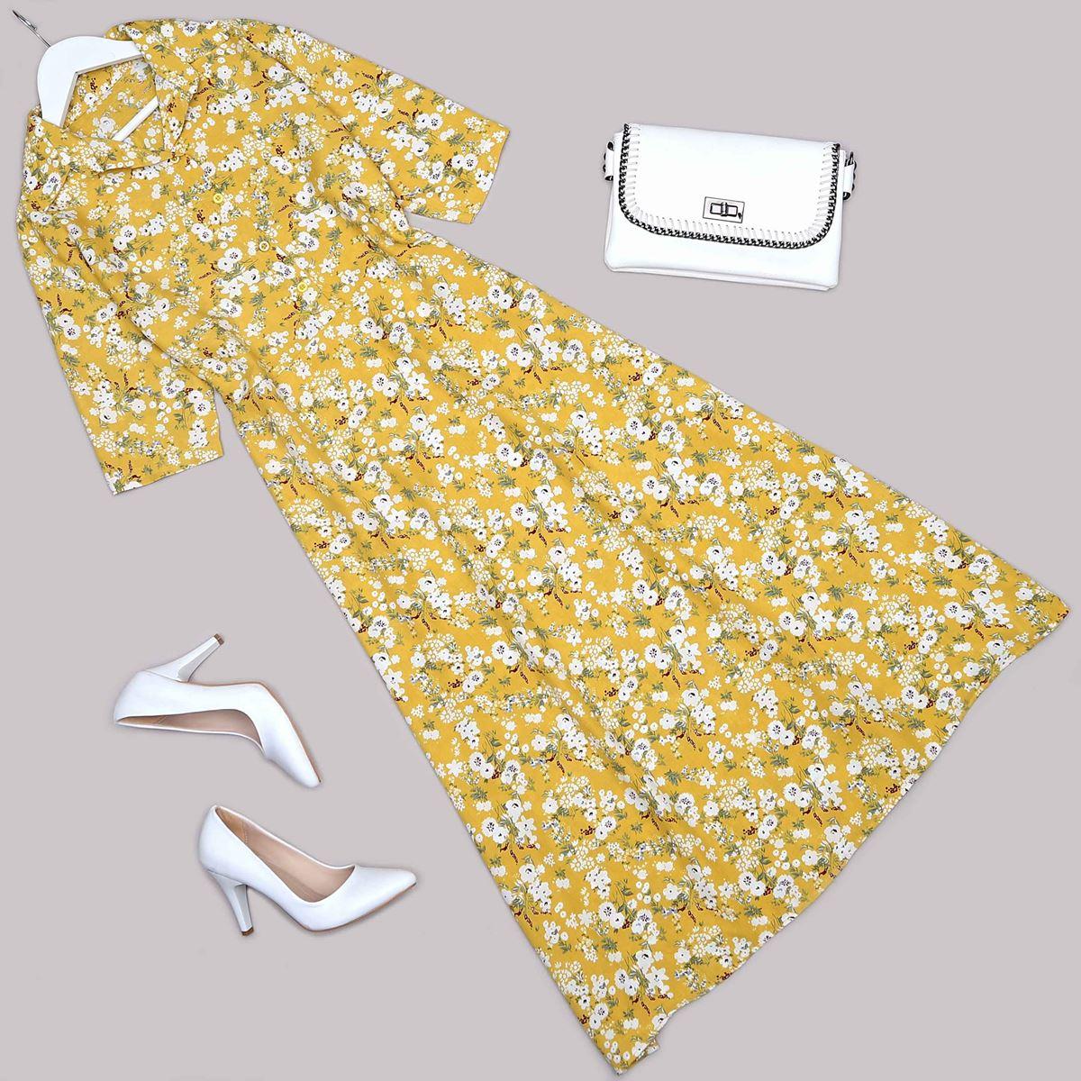 Sarı Çiçekli Elbise ELB512