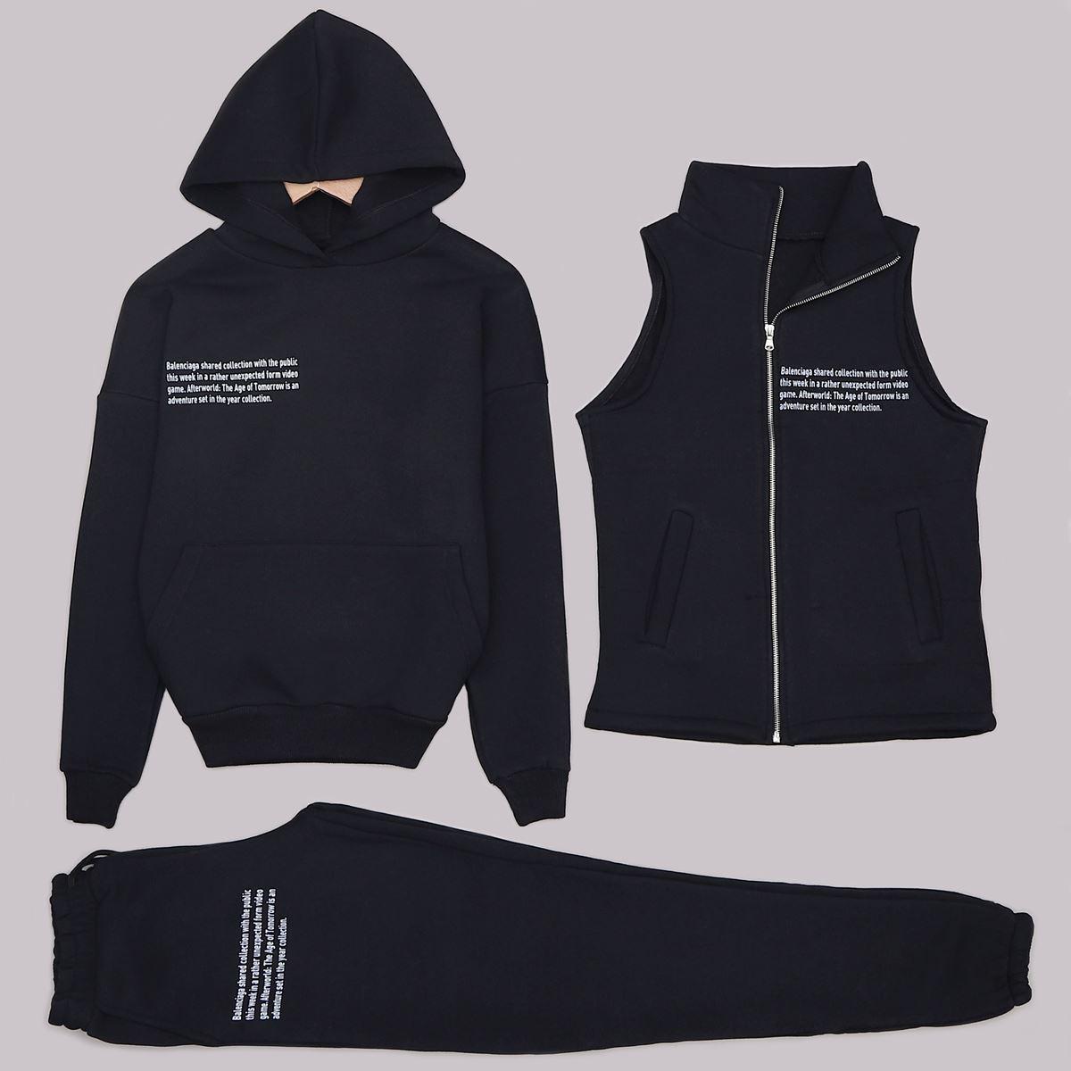 Siyah 3'Lü Eşofman Takımı TKM1306