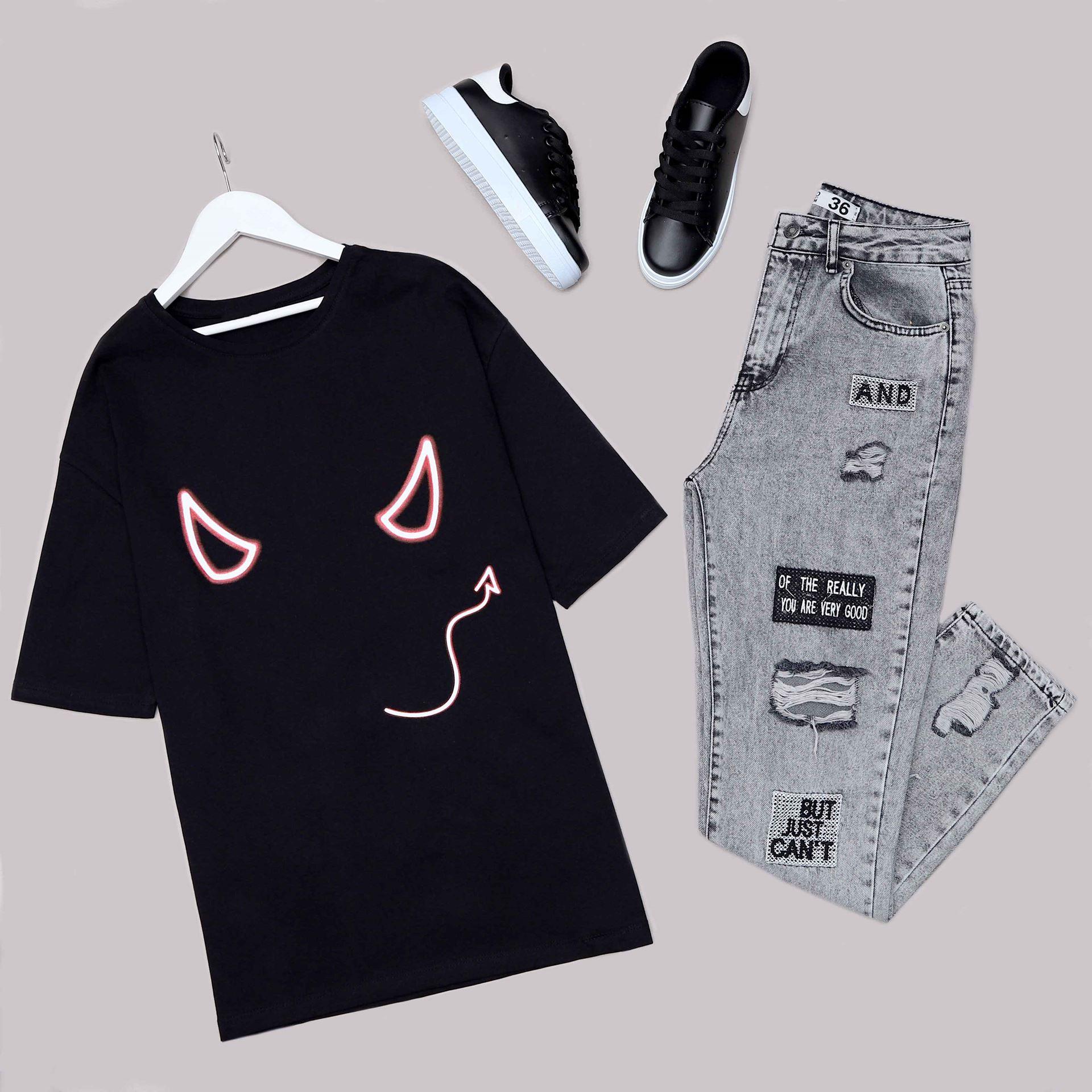 Siyah Sırt Baskılı Oversize T-Shirt TSH188