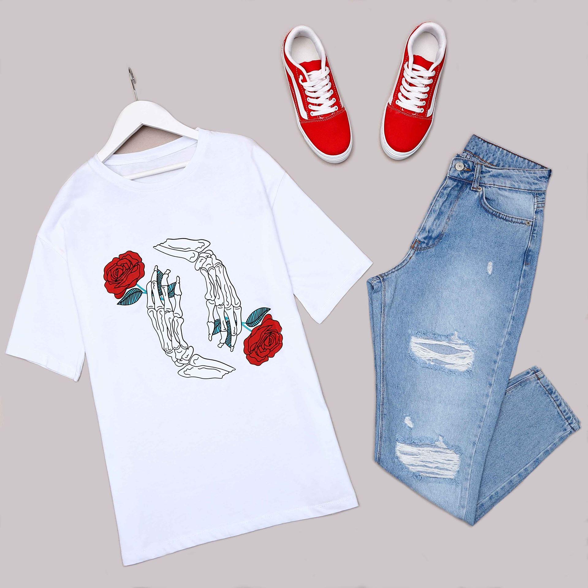 Beyaz Sırt Baskılı Oversize T-Shirt TSH189