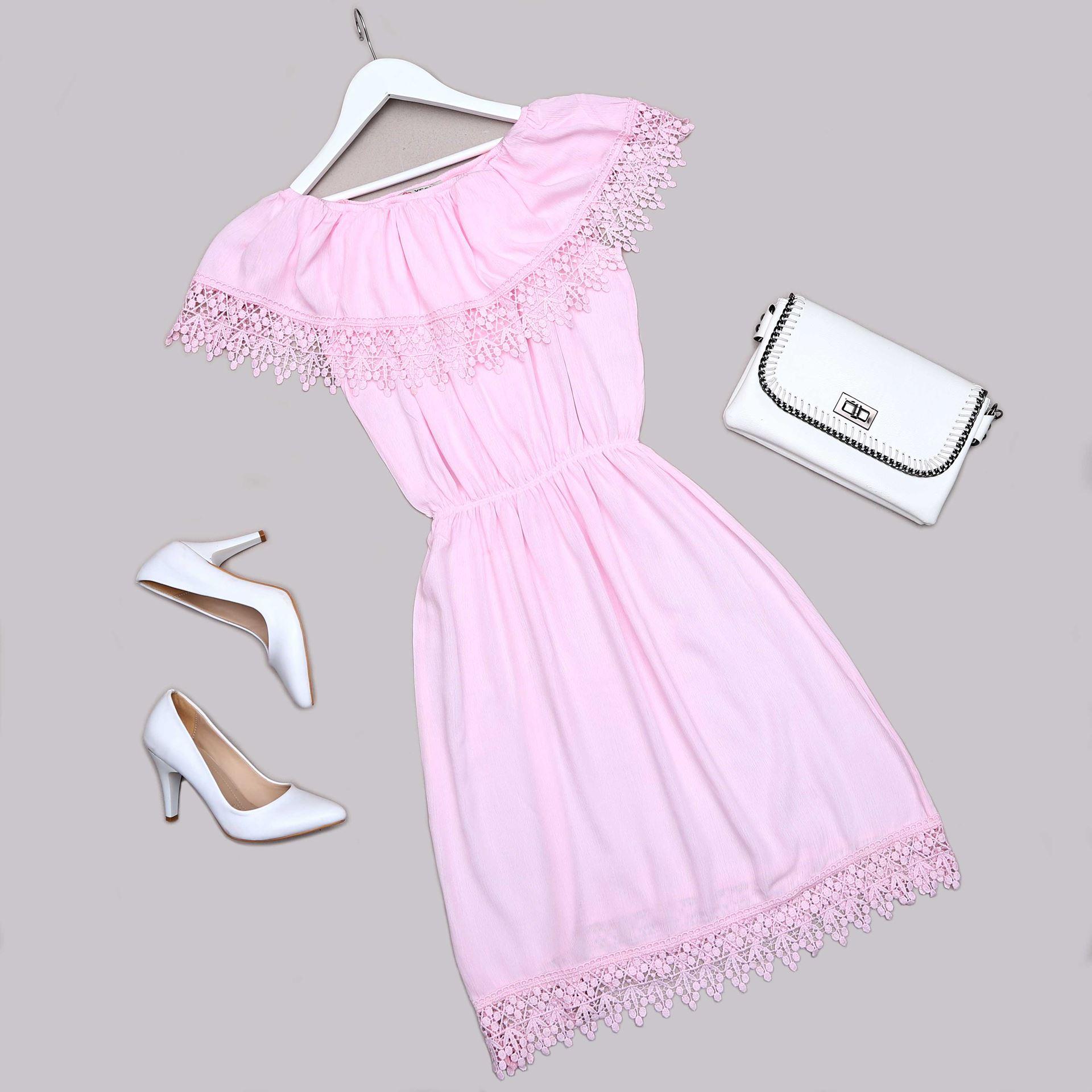 Pembe Güpürlü Elbise ELB515