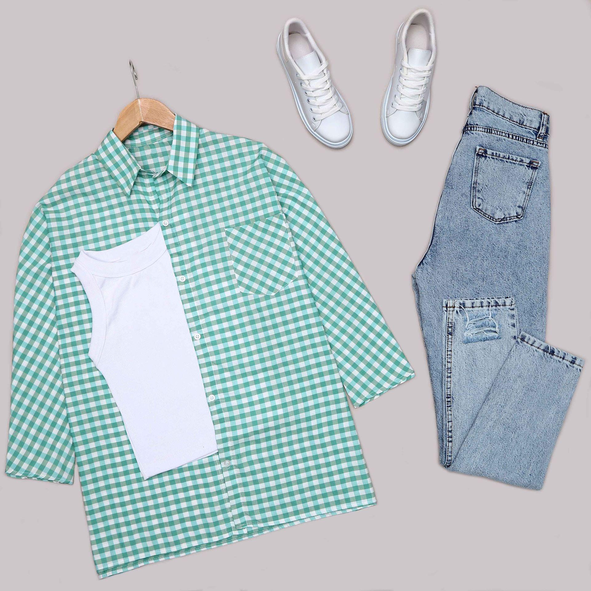 Yeşil Ekose Gömlek GML030