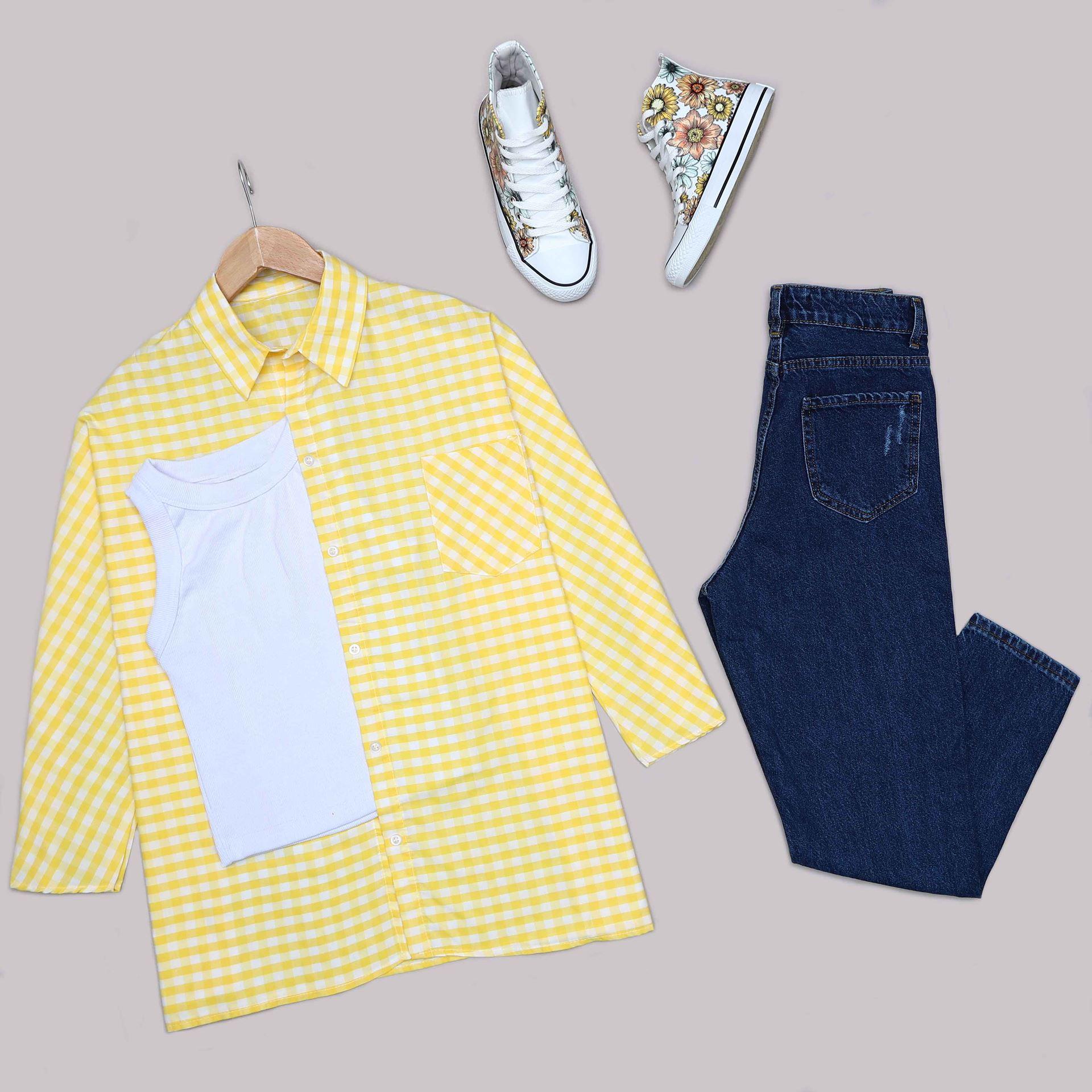 Sarı Ekose Gömlek GML031