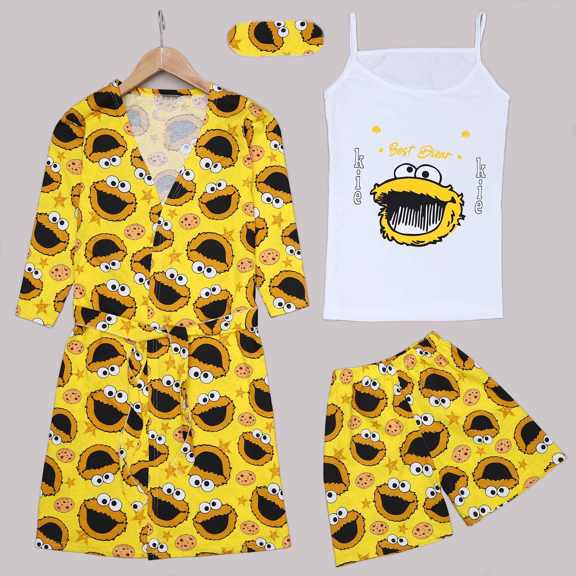 Sarı 4'Lü Pijama Takımı PJM1298